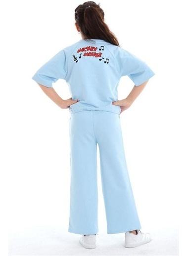 Riccotarz Kız Çocuk Boncuk Detaylı Mickey Mouse Alt Üst Takım Mavi